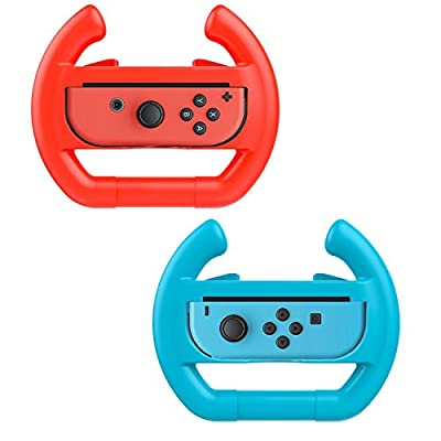 Althemax® 2 x Race Car Controller Remote dock Wheel Accessory Joy-Con Red + Blue For Nintendo Switch Mario Car Racing Games (Wheel, Red & Blue) by Althemax