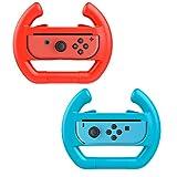 Althemax 2 x controlador de coche de carreras muelle remoto accesorio de rueda Joy-Con Rojo + azul para Nintendo Switch Mario Car Juegos de Carreras