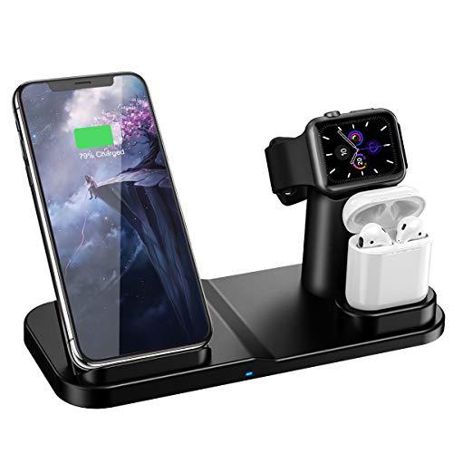 CARPURIDE Cargador Inalámbrico Wireless Charger Compatible con iPhone y Apple Watch, 3 en 1 Base de Carga Rápida para iWatch Series 1/2/3/4/5, AirPods 1/2, iPhone 11 Pro Max/11 Pro/11/XR/X/Xs/8/8+