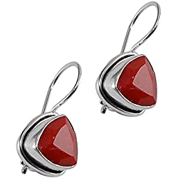 Silvesto India Red Coral Quartz Gemstone 925 Silver Plated Earring For Women & Girls Pg-25409