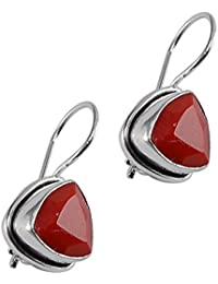 a9579a73a Silvesto India Red Coral Quartz Gemstone 925 Silver Plated Earring For  Women & Girls Pg-