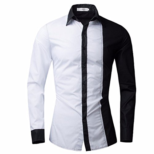 Men's Spell Color Long Sleeved Slim Shirts White shirt