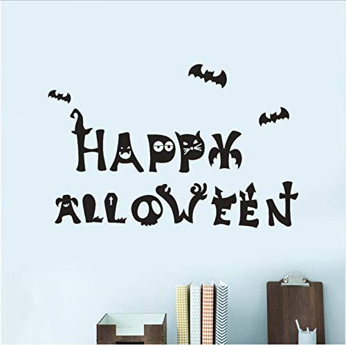 Topzt Wandaufkleber Happy Halloween Kürbis Knochen Grab Bat Stil PVC Wandtattoos Fenster Aufkleber Wohnkultur Party Dekoration 60X40 cm