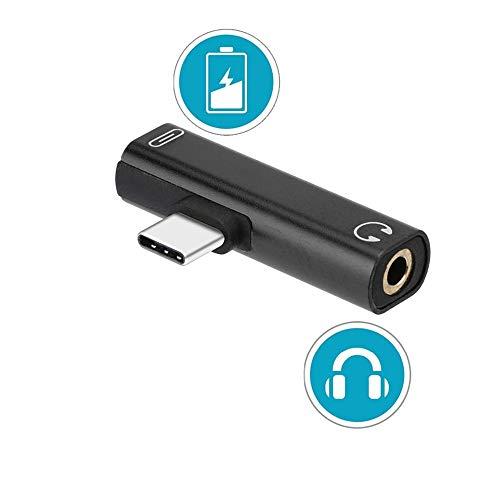 USB C Jack,USB Tipo C Jack 3.5 mm Audio et Carga rápida para Xiaomi 6/Xiaomi Mix 2/Note 3, Huawei Mate 10 Pro/P20,Moto Z, Letv Teléfonos (T-Tipo)