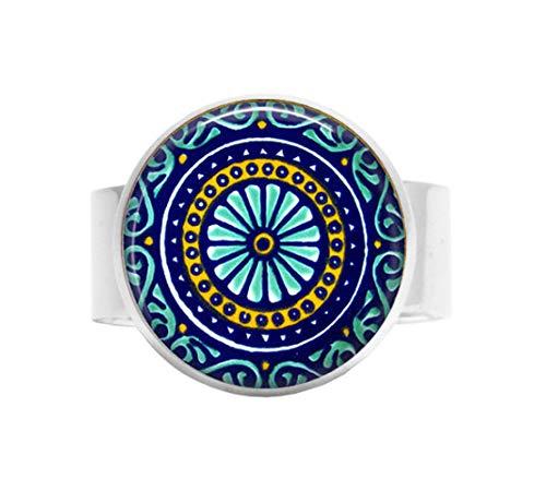 Talavera Aquas and Blues Tile – mexikanischer Talavera Schmuck – Blau Juweltöne, Verstellbarer Ring