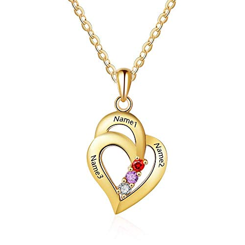Grand Made Peesonalized Mothers Name Necklace with 3 Simulated Birthstones Pendant Relationship Heart Name Necklace for 3 Personalized Necklace for Ladies (Gold, Silber) (Namen Birthstone Halskette)