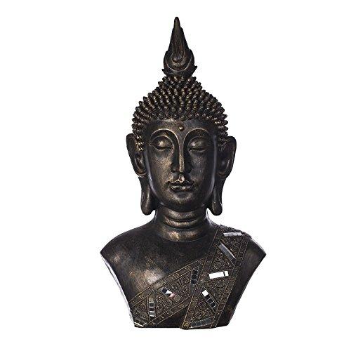 Buddha B4004 Bronze, Buddha Figur XXL 77cm hoch , für Innen uns Außen, Buddha Statue groß, Büste, Gartendekoration, Wetterfest (nicht frostsicher) aus Kunststein (Polyresin) sehr aufwendig per Hand bemalt, sehr feine Strukturen (Innen-statuen Hohe)