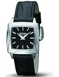 Moschino Watch MW0085 - Reloj de caballero de cuarzo, correa de piel color negro