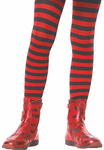 Leg Avenue Kinder Strumpfhose gestreift schwarz rot Größe M ca. 128 bis 140