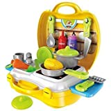 Shreeji Attractive Dream Kitchen Set Cooking Pretend Play Toys For Kids, Yellow Color