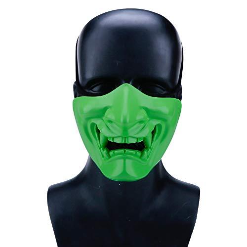 Kostüm Tote Halb Katze - Hffan Halloween Nachtleuchtende Maske Cosplay Samurai Teufel Taktische Party Festival Prom Maske Teufel Horror Grimasse Halbes Gesicht Fluoreszierende Kostüm Cosplay Karneval Gesichtsmaske