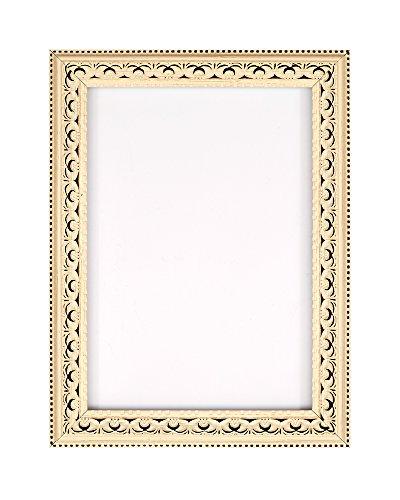 Cornice antica decorata per poster/fotografie, con pannello posteriore in MDF, pronta da appendere o esporre, con strato ad alta trasparenza infrangibile in stirene, 3colori alla moda, Polcore, Distressed white, 30,5 x 25,4 cm