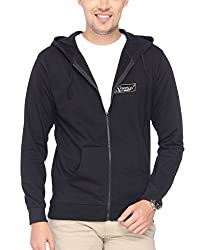 Campus Sutra Black Zipped Men Hooded Sweatshirt with Applique
