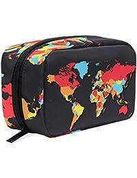 Neceser de cuatro colores para mapa del mundo, bolsa de maquillaje, neceser de viaje