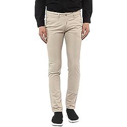 Mufti Fawn Slim Fit Cotton Trouser(32,Beige)