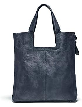 Bvane Lederhandtasche Neuen Retro-Temperament Einfache Beiläufige Handtasche Lederhandtasche -150266 (blau grau)