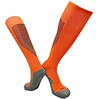 Greetuny 1par Calcetines Rodilla Unisex Sports Socks Profesional fútbol Calcetines Deportivos Hombre (Naranja)