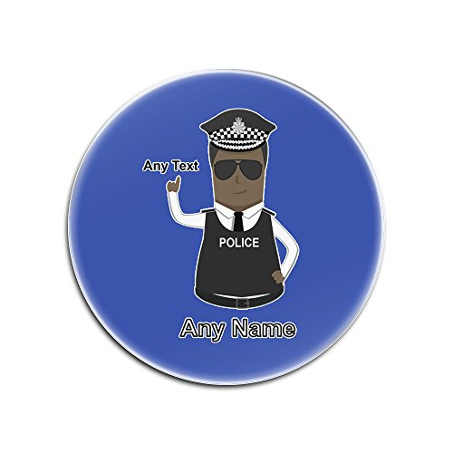 Unigift personalisiertes Geschenk (Assistent) Commissari/Kapseln Constable Gloss Untersetzer mit Polizei, erhältlich, Jede Name/Nachricht EIN Pad - AC - Schwarz Polizei Hut Rotondo blau (Blauen Assistenten Hut)