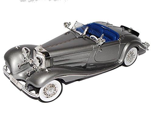 Maisto Mercedes-Benz 500K Typ Special Roadster Cabrio Silber Grau 1934-1936 1/18 Modell Auto mit individiuellem Wunschkennzeichen