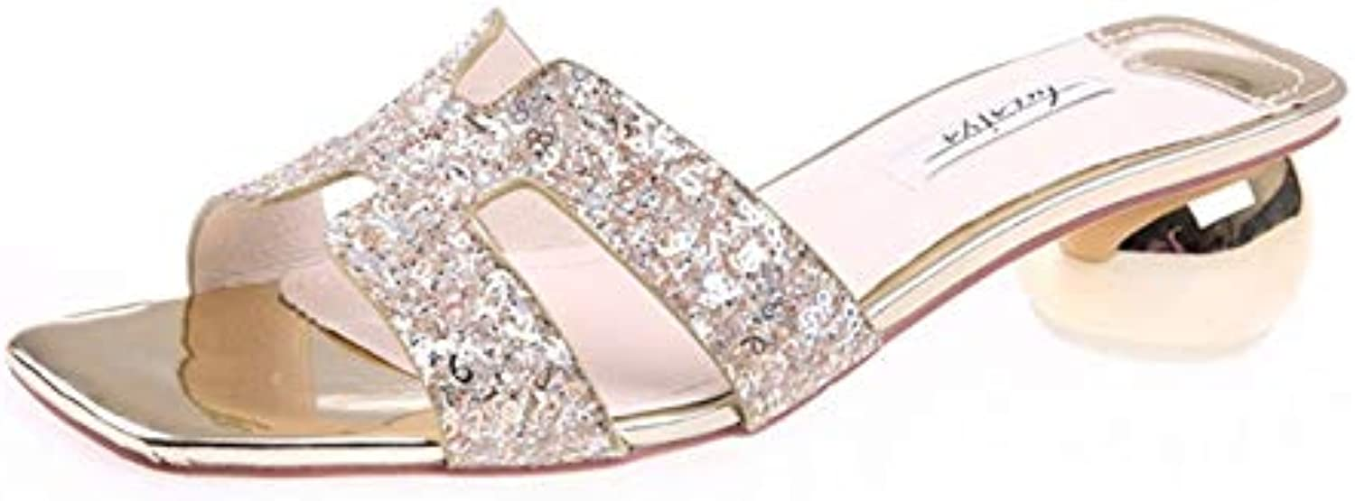 HOESCZS oroen Slippers Female 2019 Summer New Open Toe Sequins with Heel scarpe with a Word Drag Outside Wearing... | Prezzo ottimale  | Uomini/Donna Scarpa