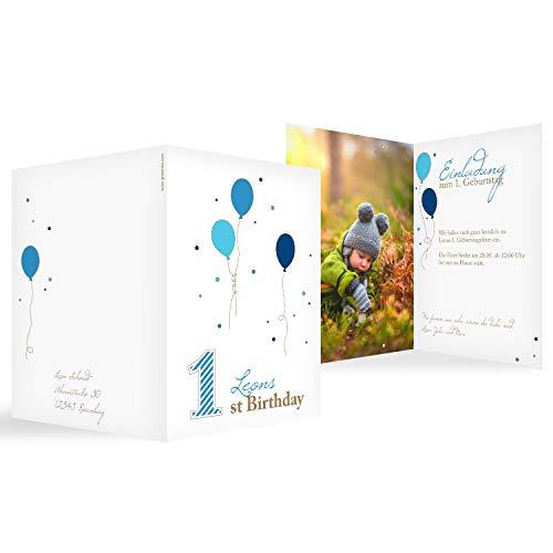 greetinks 10 x Einladungskarten Kindergeburtstag \'Erste Party\' in Blau   Personalisierte Geburtstagskarten zum selbst gestalten   10 Stück Einladungen Kinder Geburtstag - Jungen & Mädchen