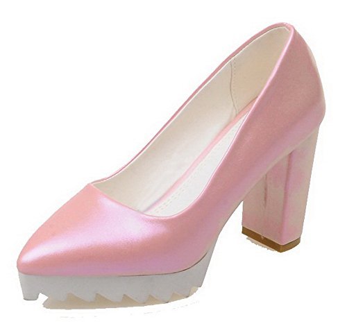 AllhqFashion Damen Hoher Absatz Rein Ziehen Auf Weiches Material Spitz Zehe Pumps Schuhe Pink
