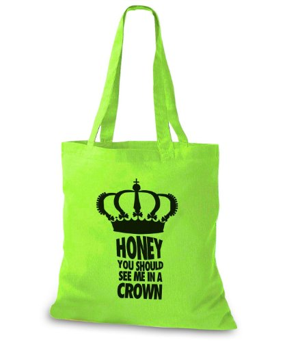StyloBags Jutebeutel / Tasche Honey you should see me in a crown Lime