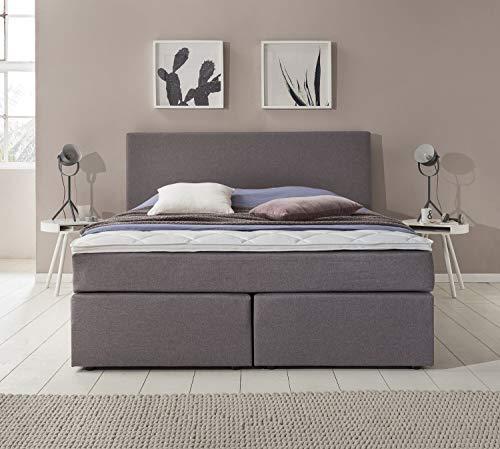 Furniture for Friends Möbelfreude® Boxspringbett Benno | 180x200 cm Hellgrau H2 | mit hochwertiger Bonell Federkernmatratze, Komfortschaum-Topper