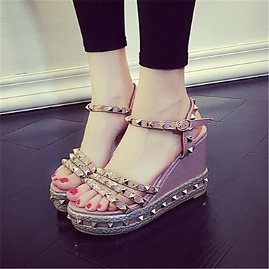 Zormey Damen Sandalen Sommer Mary Jane Pu Casual Keilabsatz US6.5-7 / EU37 / UK4.5-5 / CN37