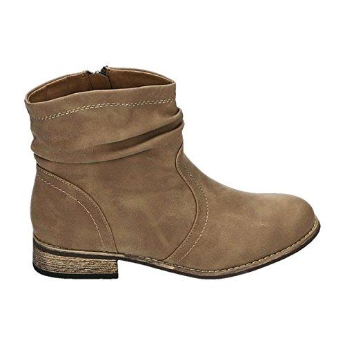 Damen Stiefeletten Cowboy Western Stiefel Boots Flache Schuhe HP86 (36, Khaki)