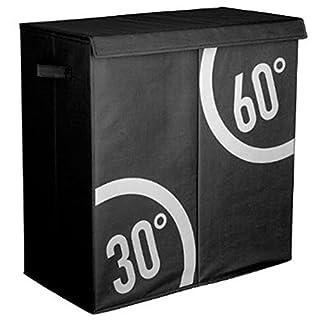AC-Déco Wäschekorb Dutri, doppelt, schwarz, L 60 x T 30 x H 60 cm