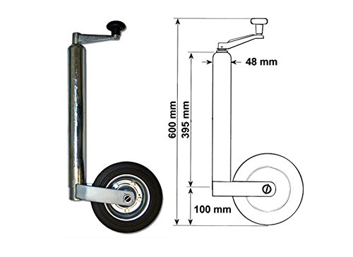 WilTec 362kg - DM48mm Roue Jockey de Remorque