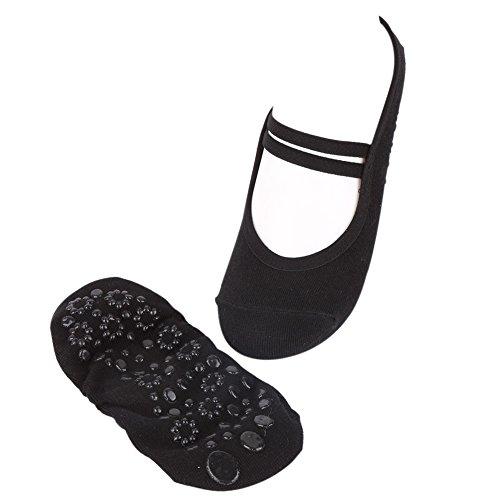 Leezo - Calcetines Antideslizantes para Yoga, Fitness, Pilates, Ballet, Danza, Color Rosa y Negro, Negro, Talla única