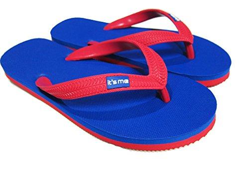 Flip Flop sandali spiaggia in gomma naturale, blu-rosso, 43/44
