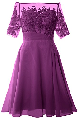 MACloth Women Off Shoulder Mother of Bride Dress with Sleeve Midi Cocktail Dress Sangria