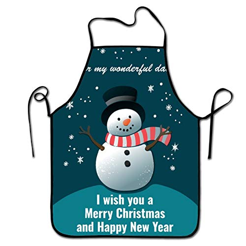 best pillow I Wish You A Merry Christmas and Happy New Year Snowman Kitchen Aprons Long Tie Adjustable Bib Apron Adult's Aprons for Cooking Baking Griling