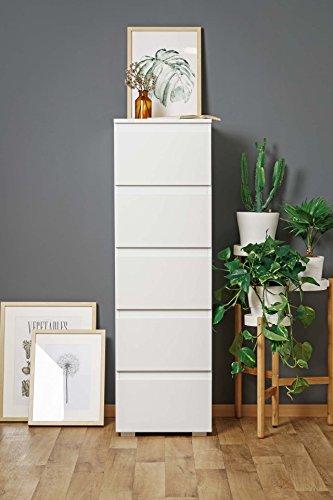 Hochkommode weiß, schmal, 131 cm hoch, 5 Schubladen | Wohnzimmerkommode | Schubladenkommode | Flurkommode