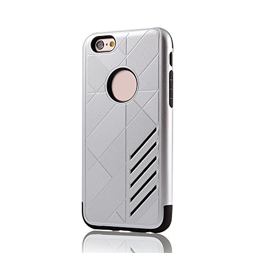 """Skitic Doppelter Schutz Hülle für iPhone 6 Plus / 6S Plus 5.5"""", Tough Rugged Heavy Duty 2 in 1 Dual Layer Hybrid Combo Weiche TPU + Hart PC Stoßfest Rückseite Handyhülle Drop Protection Shock Absorpti Silber"""