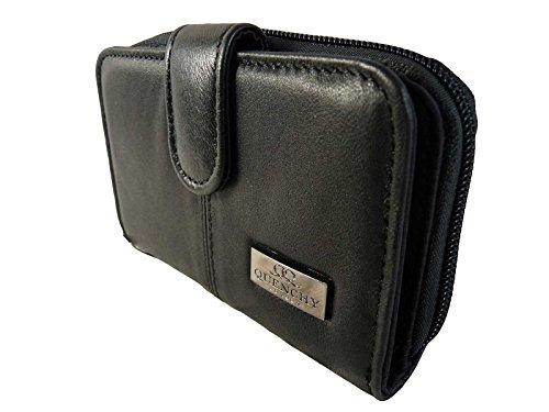 Schwarzes Leder Portemonnaie 2 Reißverschluss Münz Sektionen Mit 5 Schalen 6 Kreditkarten QL225 - Schwarz (Zwei Reißverschluss-abschnitte)
