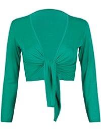 Femmes Long Manches Longues Femme Extensible Bolero Cardigan Court Front Cravate Nœud Haut Boléro
