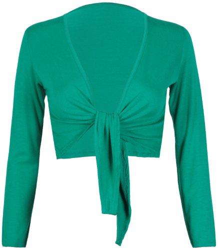 Purple Hanger da Donna, Lunga Lunghe da Donna Elasticizzato Bolero Cardigan Tagliato Avanti Nodo di Cravatta Top spallucce Giada verde