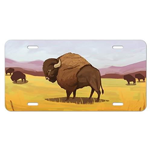 American Bison Buffalo Herde in der Ebene Neuheit Metall Vanity Tag License Plate