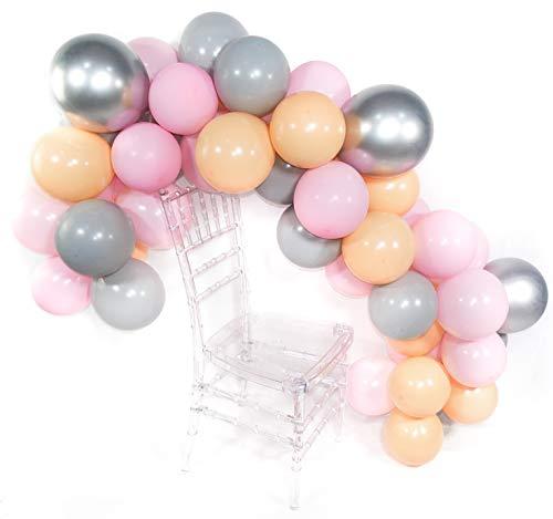 PuTwo Luftballons 50 Stück Grau Luftballons Luftballons Rosa Latexballons Pfirsich Luftballons Metallic Silber, Helium Luftballons für Baby Shower, Taufe Mädchen, Geburtstag Mädchen, Hochzeit