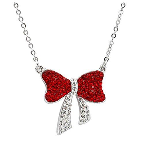 Gnzoe Schmuck Damen Halskette 925 Silber Kristall Bow Form Anhänger Damenkette Statementkette Brautschmuck Rot mit (Hawaii 0 5 Kostüme)