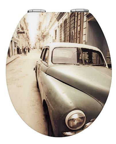 WENKO 21818100 WC-Sitz Hochglanz Acryl Old-Time Car, Toilettensitz mit Absenkautomatik, 38 x 44,5 cm, mehrfarbig