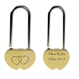 Vincenza Heart Love Lock, Personalised Engraved Padlock with Bride & Groom image,Bold Contrasting Text of your choice