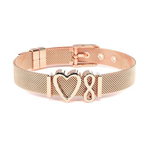 THIORA® - Charmband Set | Mesh Armband Damen | Individuelle Anhänger Charms | Classic Line | Unendlichkeit | Bracelet (Infinity - Rosegold)