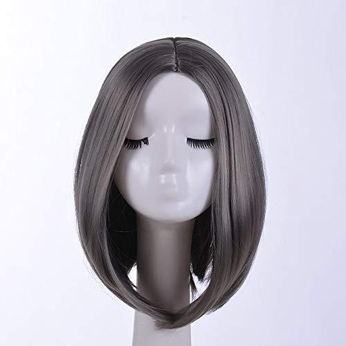 WANGXUAN Kurze Bob Perücke für Frauen Platin Blonde Natürlich Aussehende Gerade Damen Tägliche Kleidung Bob Hair Perücke mit Haar Pony,Grey