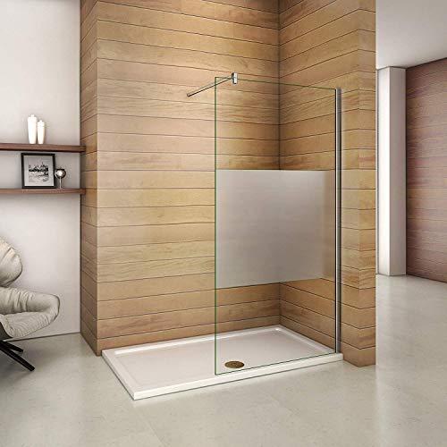 120x200cm Walk in Dusche Duschwand Duschabtrennung 10mm Easy-clean Nano Teilsatiniert Glas Duschkabine mit 140cm Stabilisierungsstange