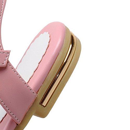 VogueZone009 Damen Eingelegt Pu Leder Niedriger Absatz Offener Zehe Schnalle Sandalen Pink